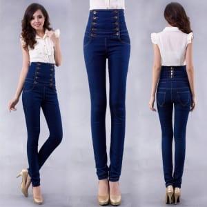 Pantaloni-a-vita-alta-jeansa-skinny-a-vita-alta-con-bottoni-sulla-pancia