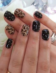 black-studded-and-leopard-print-nail-art-design