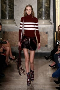 A model walks the runway at the Emilio Pucci show during the Milan Fashion Week Autumn/Winter 2015 on February 28, 2015 in Milan, Italy.