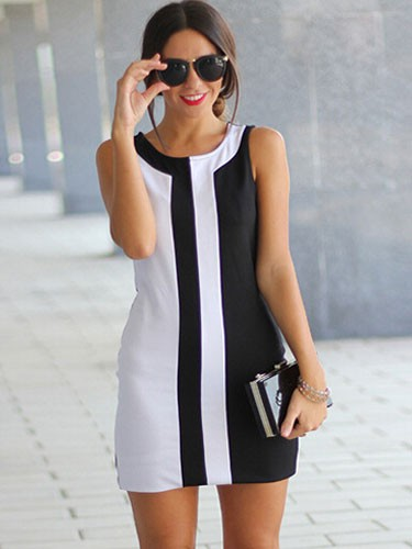 black-and-white-stitching-sleeveless-summer-a-line-mini-dress-plus-size1