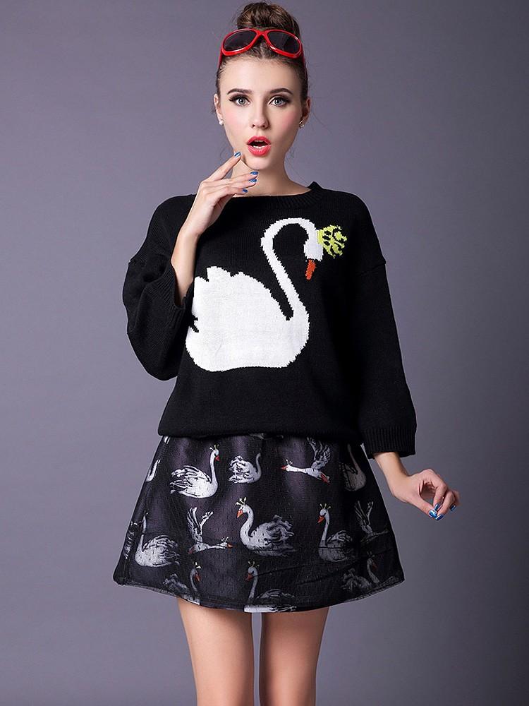 womens-fashion-ducks-printing-sweater-_-slim-skirt-suit1